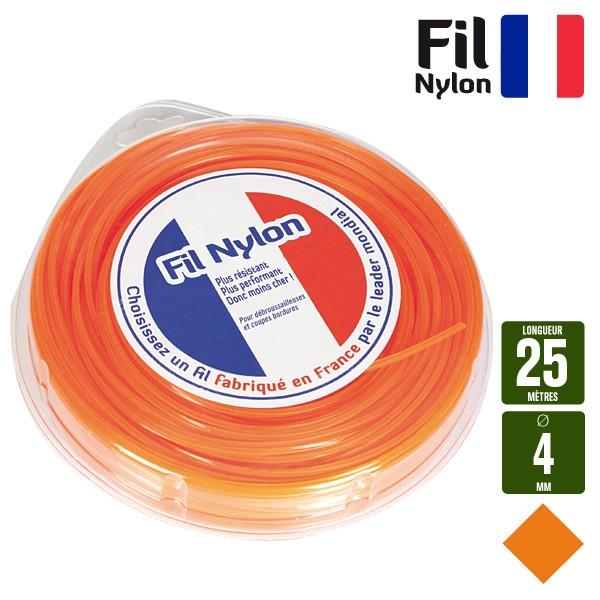 Fil d broussailleuse nylon section carr e 4mm longueur 25m - Fil de debroussailleuse ...