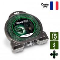 Fil débroussailleuse Hélicoidal Cuter' Pro noir/vert. 3 mm x 15 m. Coque