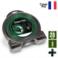 Fil débroussailleuse Hélicoidal Cuter' Pro noir/vert. 3 mm x 28 m. Coque