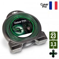 Fil débroussailleuse Hélicoidal Cuter' Pro noir/vert. 3,3 mm x 23 m. Coque