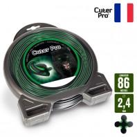 Fil débroussailleuse Hélicoidal Cuter' Pro noir/vert. 2,4 mm x 86 m. Coque