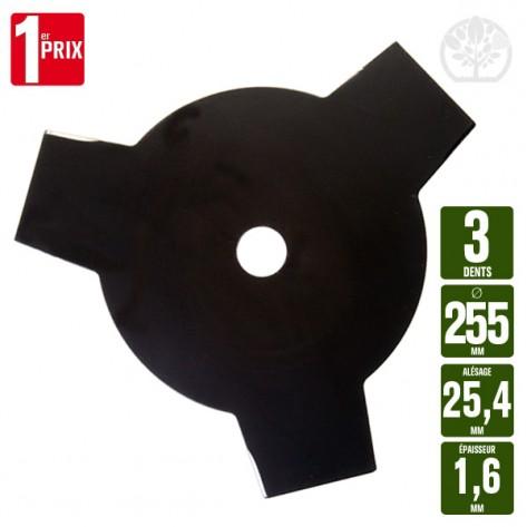 Lame disque débroussailleuse 3 dents. Ø 255 mm. Al 25,4 mm. Ep 1,6 mm