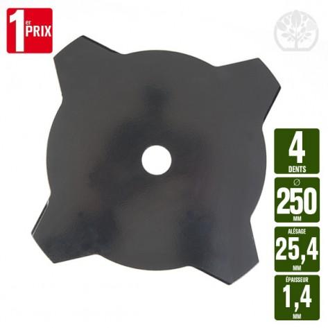 Lame disque débroussailleuse 4 dents. Ø 250 mm. Al 25,4 mm. Ep 1,4 mm