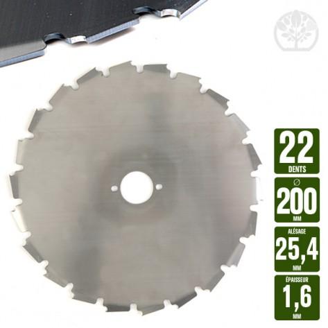 Lame disque débroussailleuse 22 dents à gouges dentées Ø 200 mm. Al 25,4 mm. E 1,6 mm
