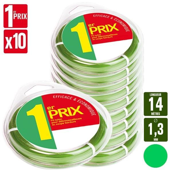 10 Fils débroussailleuse rond 1er Prix vert. 1,3 mm x 14 m. Coque.