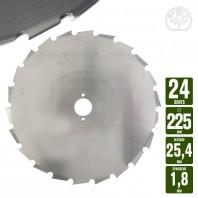 Lame débroussailleuse 24 dents à gouges dentée Ø 225 mm. Al 25,4 mm. Ep 1,8 mm