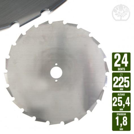 Lame disque débroussailleuse 24 dents à gouges dentée Ø 225 mm. Al 25,4 mm. Ep 1,8 mm