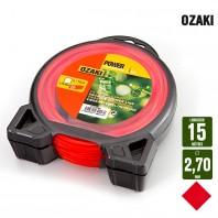 Fil débroussailleuse carré Ozaki rouge. 2,7 mm x 15 m. Coque