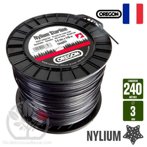 Fil d broussailleuse or gon etoil nylon gris 3mm x 240m bobine - Fil de debroussailleuse ...