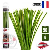 Fil débroussailleuse Orégon Dents pointues Nylon Jaune-vert 50 brins 6mm. Tube