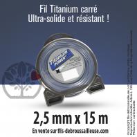 Fil débroussailleuse carré Titanium gris. 2,5 mm x 15 m. Coque