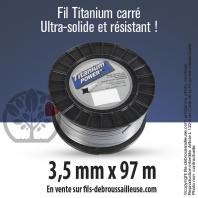 Fil débroussailleuse carré Titanium gris. 3,5 mm x  97m. Bobine