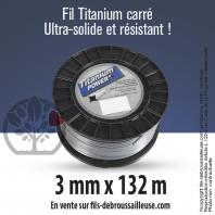 Fil débroussailleuse carré Titanium gris. 3 mm x 132 m. Bobine