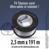 Fil débroussailleuse carré Titanium gris. 2,5 mm x 191 m. Bobine