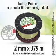 Fil débroussailleuse rond Natura Protect beige/vert 2 mm x 379 m. Bobine