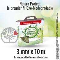 Fil débroussailleuse rond Natura Protect beige/vert 3 mm x 10 m. Coque