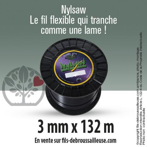 Fil débroussailleuse cranté Nylsaw noir. 3 mm x 132 m. Bobine