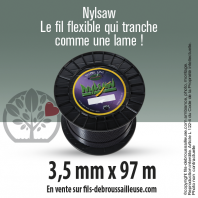 Fil débroussailleuse cranté Nylsaw noir. 3,5 mm x 97 m. Bobine