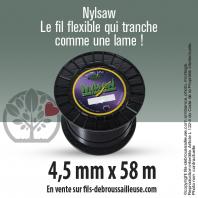 Fil débroussailleuse cranté Nylsaw noir. 4,5 mm x 58 m. Bobine