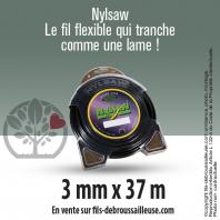 Fil débroussailleuse cranté Nylsaw noir. 3 mm x 37 m. Coque