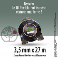 Fil débroussailleuse cranté Nylsaw noir. 3,5 mm x 27 m. Coque