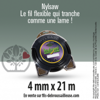Fil débroussailleuse cranté Nylsaw noir. 4 mm x 21 m. Coque