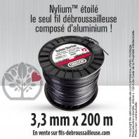 Fil débroussailleuse Orégon Etoilé Nylon Gris 3.3mm x 200m. Bobine