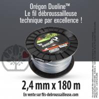 Fil débroussailleuse Orégon Rond Nylon Transparent 2.4mm x 180m. Bobine