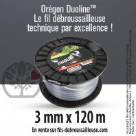 Fil débroussailleuse Orégon Rond Nylon Transparent 3mm x 120m. Bobine