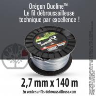 Fil débroussailleuse Orégon Rond Nylon Transparent 2.7mm x 140m. Bobine