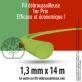 Fil débroussailleuse rond 1er Prix vert. 1,3 mm x 14 m. Coque.