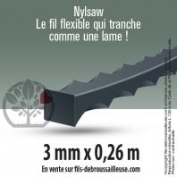 Fil débroussailleuse cranté Nylsaw noir. 35 brins. 3 mm x 0,26 m. Tube