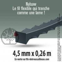 Fil débroussailleuse cranté Nylsaw noir. 15 brins. 4,5 mm x 0,26 m. Tube