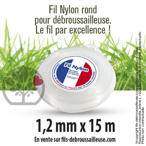 Fil débroussailleuse Rond Nylon blanc. 1,2 mm x 15 m. Coque