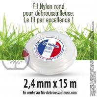 Fil débroussailleuse Rond Nylon blanc. 2,4 mm x 15 m. Coque