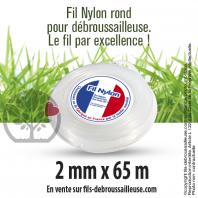 Fil débroussailleuse Rond Nylon blanc. 2 mm x 65 m. Coque