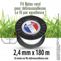 Fil débroussailleuse Rond Nylon blanc. 2,4 mm x 180 m. Bobine