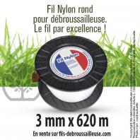 Fil débroussailleuse Rond Nylon Blanc 3 mm x 620 m. Grande bobine.