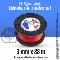 Fil débroussailleuse carré Nylon orange. 3 mm x 88 m. Coque