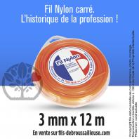Fil débroussailleuse carré Nylon orange. 3 mm x 12 m. Coque