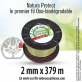 Fil oxo-biodégradable rond Natura Protect beige/vert 2 mm x 379 m. Bobine