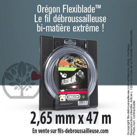 Fil débroussailleuse Orégon Carré FlexiBlade Gris 2,65mm x 47m. Coque