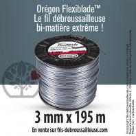 Fil débroussailleuse Orégon Carré FlexiBlade Gris 3mm x 195m. Bobine