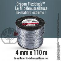 Fil débroussailleuse Orégon Carré FlexiBlade Gris 4mm x 110m. Bobine
