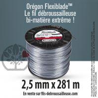 Fil débroussailleuse Orégon Carré FlexiBlade Gris 2,5mm x 281m. Bobine