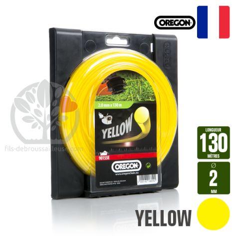 Fil débroussailleuse Orégon Rond Yellow jaune. 2 mm x 130 m. Coque