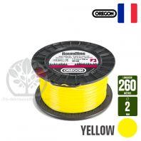 Fil débroussailleuse Orégon Rond Yellow jaune. 2 mm x 260 m. Bobine