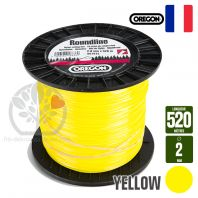 Fil débroussailleuse Orégon Rond Yellow jaune. 2 mm x 520 m. Bobine