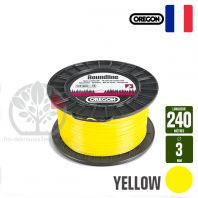 Fil débroussailleuse Orégon Rond Yellow jaune. 3 mm x 240 m. Bobine