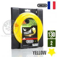 Fil débroussailleuse Orégon Etoilé Yellow jaune. 2 mm x 130 m. Bobine